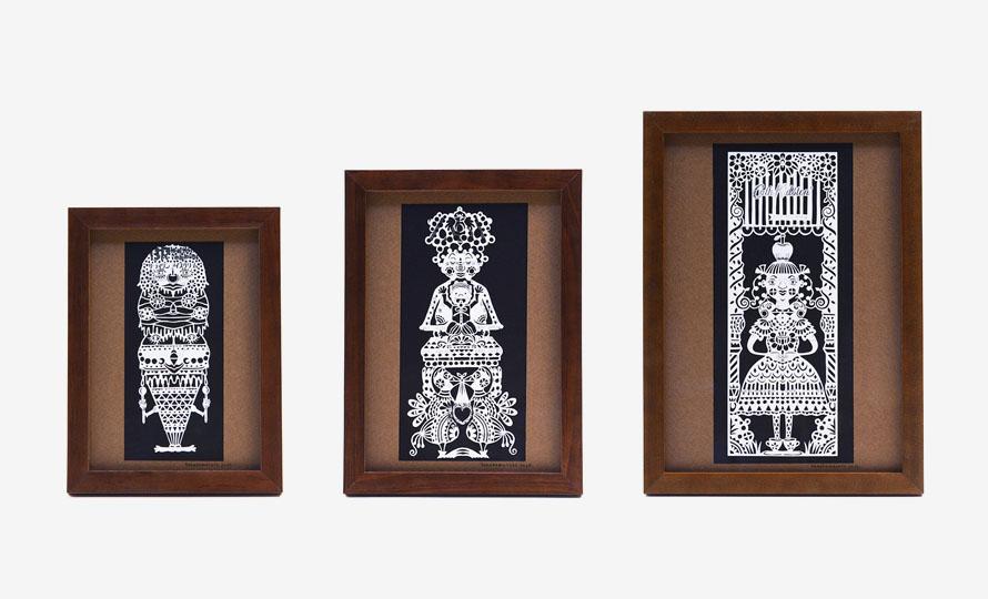 タナカマコト tanakamacoto/切り絵「タダのカミ様」額装作品 130×180mm(6種)のイメージ画像
