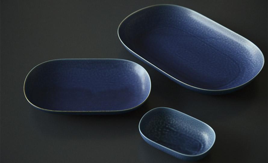 イイホシユミコ yumiko iihoshi porcelain/「ReIRABO リイラボ」oval plate オーバルプレート off shore blue(S・M・L)のイメージ画像