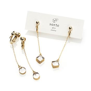 sorte glass jewelry ソルテグラスジュエリー/SGJ-019・020 ガラス イヤリング(サークル・スクエア)