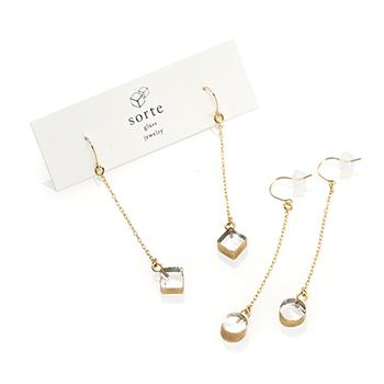 sorte glass jewelry ソルテグラスジュエリー/SGJ-019・020 ガラス フックピアス(サークル・スクエア)