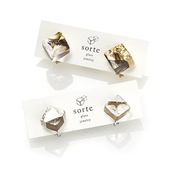 sorte glass jewelry ソルテグラスジュエリー/SGJ-102G・102S ガラス イヤリング(ゴールド・シルバー)