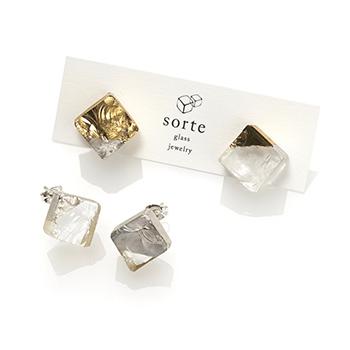 sorte glass jewelry ソルテグラスジュエリー/SGJ-102G・102S ガラス ピアス(ゴールド・シルバー)