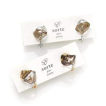 sorte glass jewelry ソルテグラスジュエリー/SGJ-201G・201S ガラス イヤリング(ゴールド・シルバー)