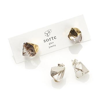 sorte glass jewelry ソルテグラスジュエリー/SGJ-201G・201S ガラス ピアス(ゴールド・シルバー)