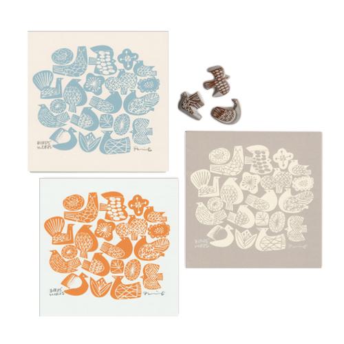 BIRDS'WORDS バーズワーズ/「BIRDS&FLOWERS バーズ&フラワーズ」シルクスクリーン ポスター 20×20(3色・額なし)