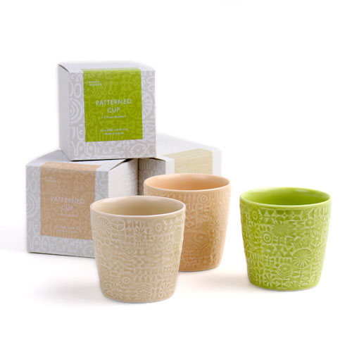 BIRDS'WORDS バーズワーズ/「PATTERNED CUP」カップ(citron green/ecru/shell pink)