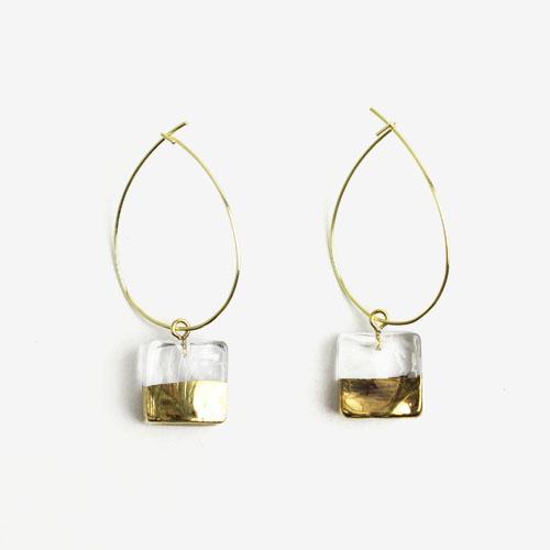 sorte glass jewelry ソルテグラスジュエリー/SGJ-011SQ ガラス フープピアス(スクエア)