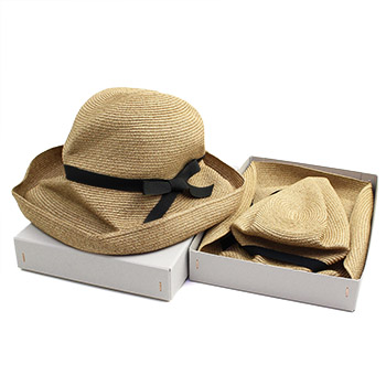 mature ha. マチュアーハ/ボックスハット「BOXED HAT 101」11cm brim grosgrain ribbon(mix brown)【送料無料】