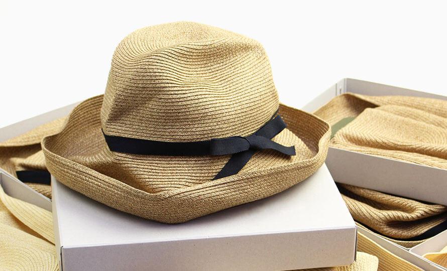 mature ha. マチュアーハ/ボックスハット「BOXED HAT 101」11cm brim grosgrain ribbon(mix brown)