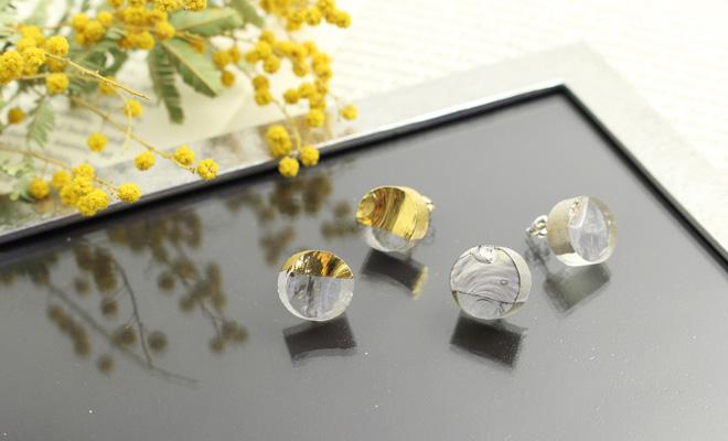 sorte glass jewelry ソルテグラスジュエリー/ガラスピアスSGJ-101Gと101Sが並んだ画像