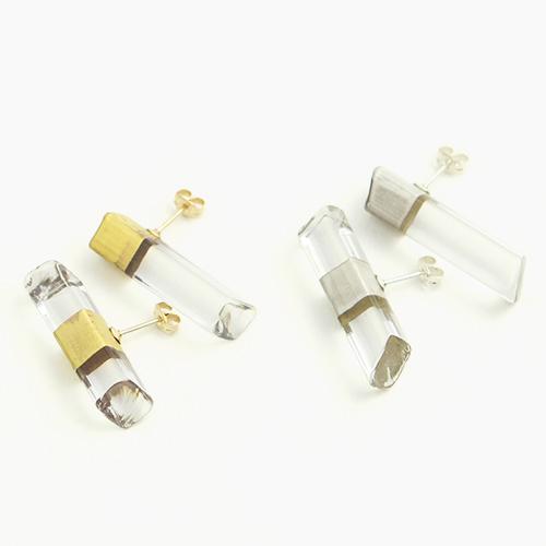 sorte glass jewelry ソルテグラスジュエリー/SGJ-103CG・103CS ガラスピアス(ゴールド・シルバー)