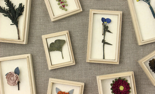 村上伊万里 むらかみいまり/コサージュ 「銀杏の葉」その他作品が並んでいるイメージ画像
