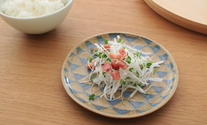 木村香菜子 きむらかなこ/パターン皿 茶青 ウロコ(3サイズ)/パターン皿 茶青 ウロコ(3サイズ)が並んだイメージ画像