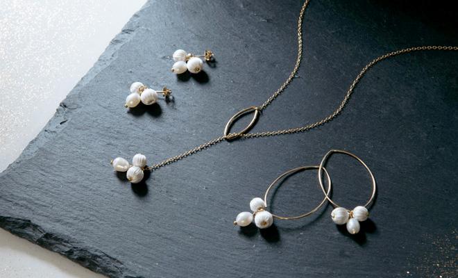 ciito シイト/mitsubuシリーズ「mitsubu pierce・necklace」(3種)/mitsubuシリーズ「mitsubu pierce,necklace」(3種)が並んだイメージ画像