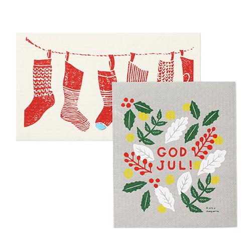北欧毎日フキン/スポンジワイプ「Happy リース」「北欧のクリスマス」