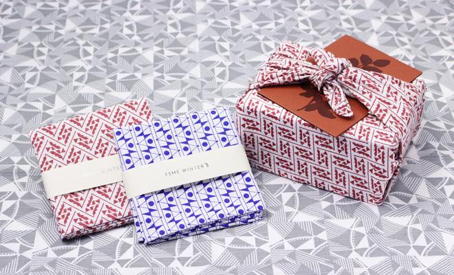 Esme Winter+S/ FUROSHIKI 風呂敷 50×50(2種)/Esme Winter+S 風呂敷50cm(2種)を並べた画像