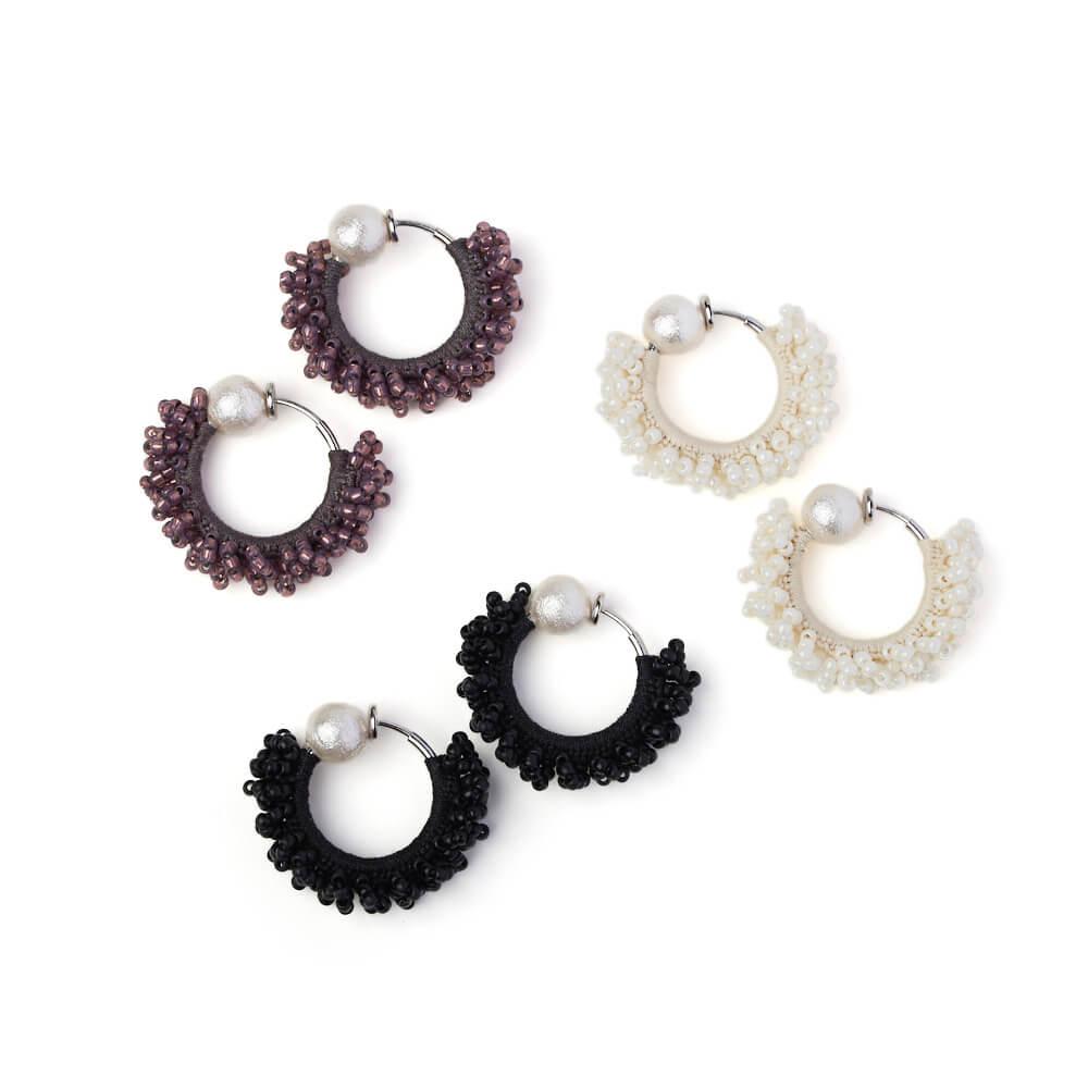 hariknitting ハリニッティング/circle earring pearl S サークルパールイヤリング S(3色)