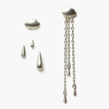 clouds and rain pierced earring 雨と雲 ピアス(シングル 4種)