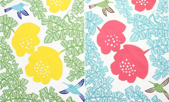 kata kata カタカタ/注染てぬぐい はちどり2色を広げ並べた画像