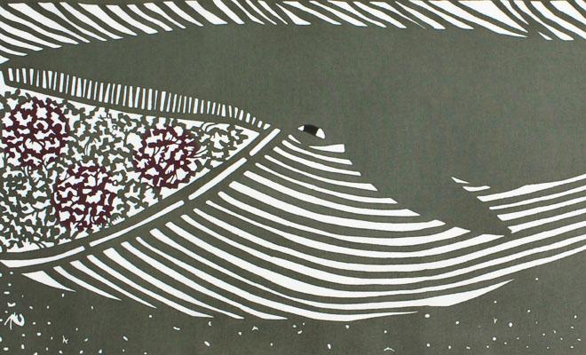 kata kata カタカタ/型染めてぬぐい ナガスクジラを広げた画像