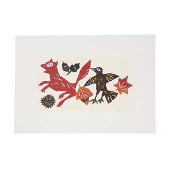 柚木沙弥郎Samiro Yunoki/型染画シリーズ「狐と鳥」